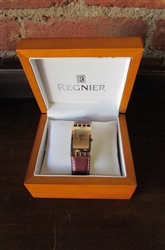 NEW REGNIER WATCH WITH BROWN LEATHER BAND