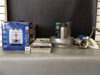 Kitchen: Mini Loaf Pans, Skewers, Meat Grinder, Coffee Cups, etc