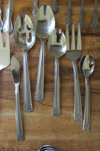 STAINLESS STEEL FLATWARE - SERVICE FOR 8 PLUS EXTRAS *ESTATE*