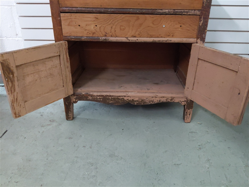 Vintage Wooden Dresser- 2 Drawers and a Cabinet