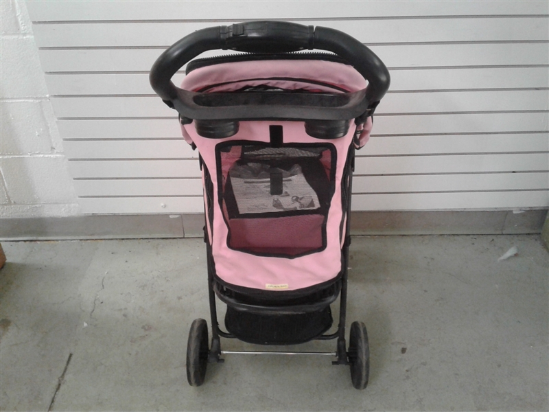 Pink and Black Dog Stroller