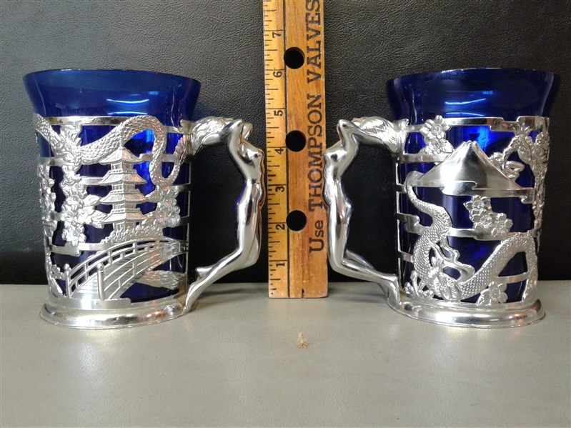 Pair of Tankards with Cobalt Glass Inserts