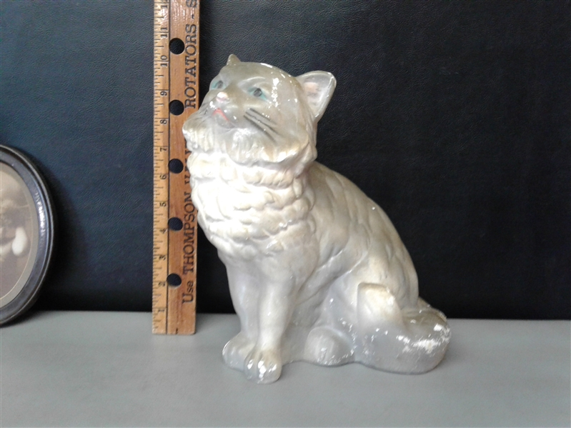 Chalkware Plaster Cat and Dog Plus Vintage Photos
