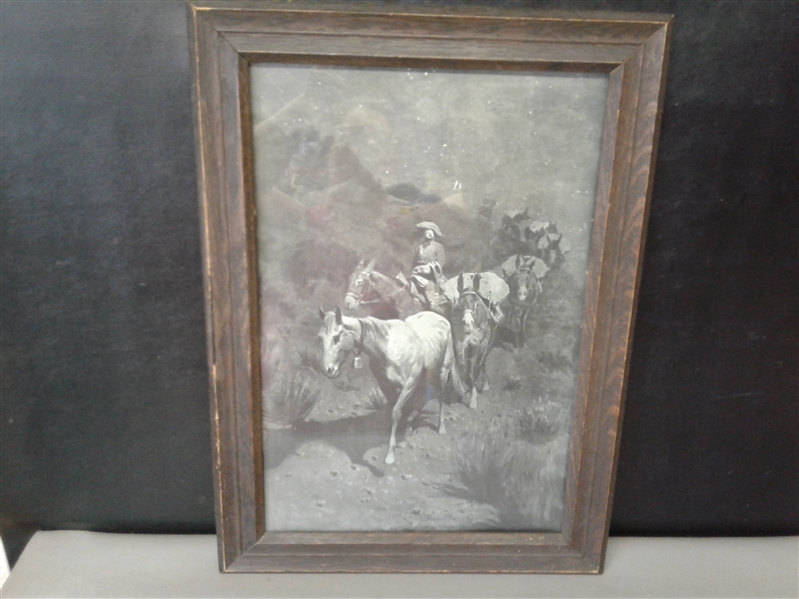 Antique Framed Frederic Remington Original Print The Bell Mare 1903