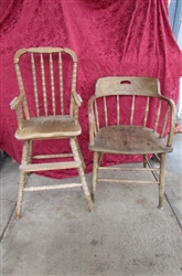 VINTAGE WOODEN DINING CHAIR AND CHILDS HIGHCHAIR