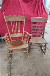 2 VINTAGE/ANTIQUE WOODEN ROCKING CHAIRS