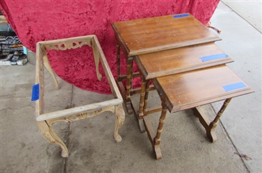 VINTAGE STACKING TABLES AND WOOD COFFEE TABLE PROJECT