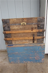 POSSIBLY HANDMADE WOODEN TRUNK AND BOX