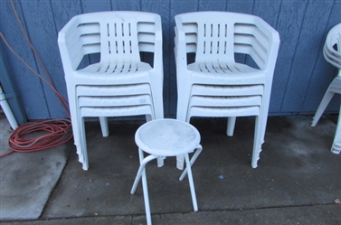 OUTDOOR PLASTIC CHAIRS AND SMALL TABLE