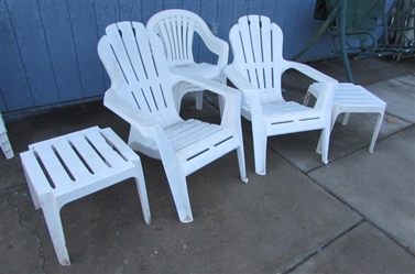 PLASTIC CHAIRS AND TABLES