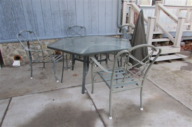 OCTAGON GLASS OUTDOOR TABLE AND CHAIRS