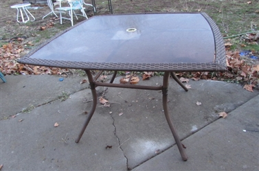 SQUARE BROWN GLASS TOP OUTDOOR TABLE