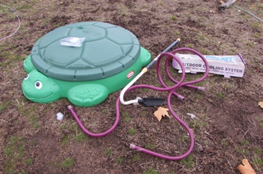 TURTLE SAND/WATER BOX AND MISTING STANDS AND COOLING SYSTEM