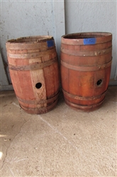 PAIR OF SMALL HEAVY WOODEN BARRELS