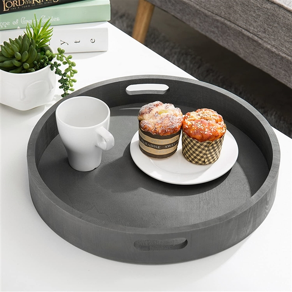MyGift Round Nesting Charcoal Gray Wood Serving Trays, Set of 2