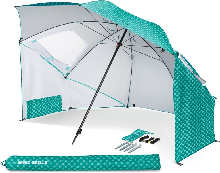Sport-Brella Vented SPF 50+ Sun and Rain Canopy Umbrella for Beach and Sports Events