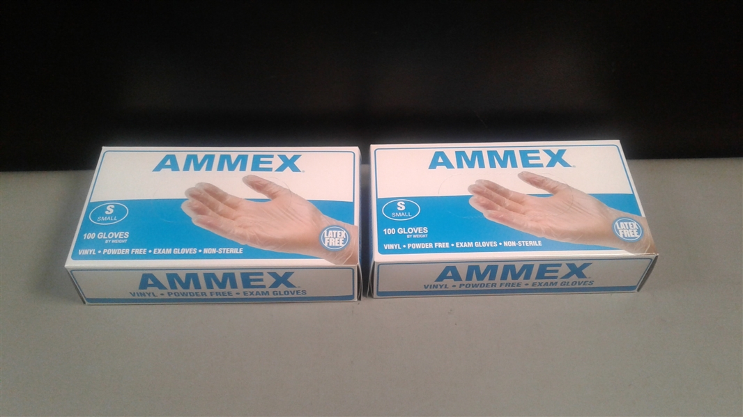 AMMEX Medical Clear Vinyl Gloves, Box of 100 Size Small- 2 Boxes