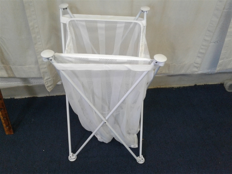 Large Lot of Hangers and Collapsible Hamper