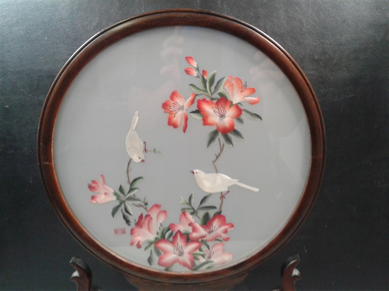 Double Sided Chinese Silk Embroidery In Wood Frame