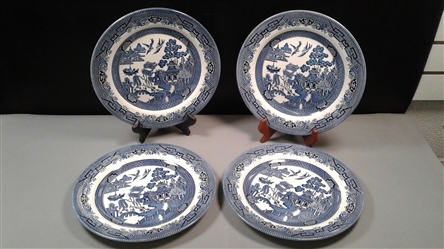 Set of 4 Vintage Discontinued Willow Blue Dinner Plates 10 1/4""