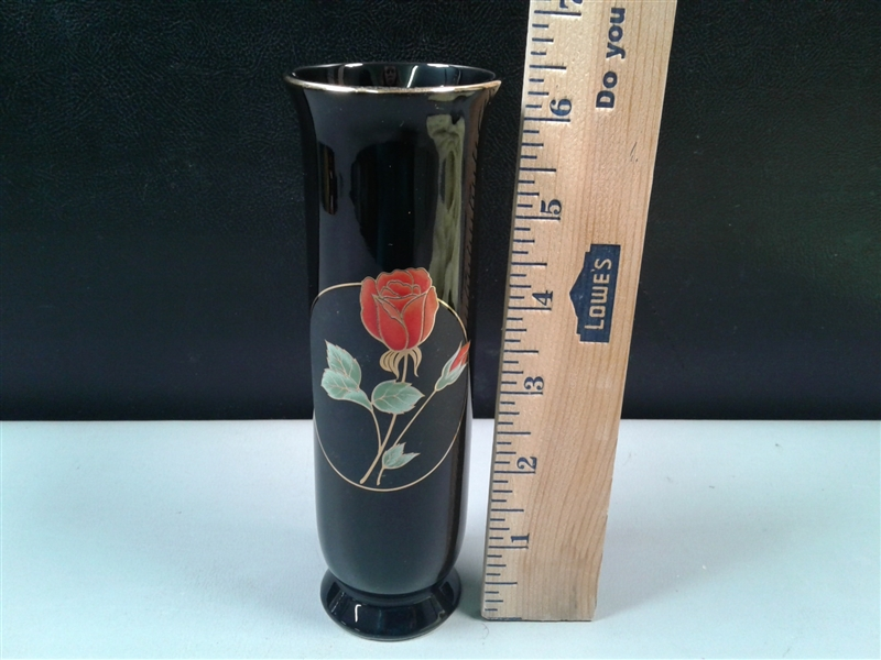 Vintage Otagiri Vase Crimson Rose Japan
