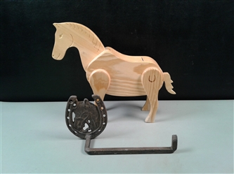 Horse: Wooden Horse M&M/Candy Dispenser & Cast Iron Toilet Paper Holder