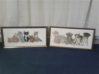 Embroidered Cat and Dog Framed Pictures