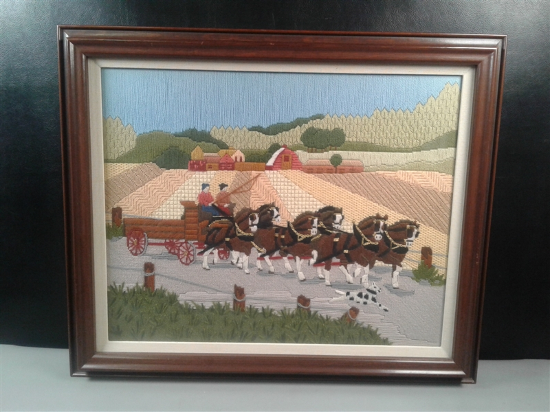Needlepoint Clydesdales & Carriage Framed Picture