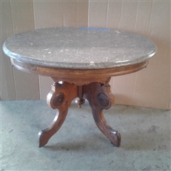 Antique Side Table with Burl Wood Inserts and Marble Top
