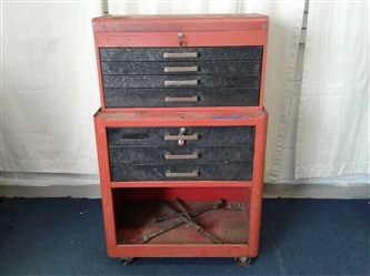 Rolling Tool Chest W/Top Box, Includes Tools and Keys