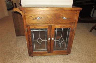Solid Wood Kitchen Cart with Leaded Glass Doors