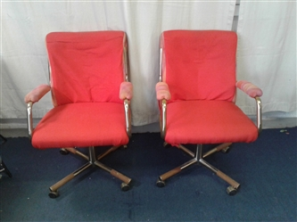 2 Red Chairs On Casters