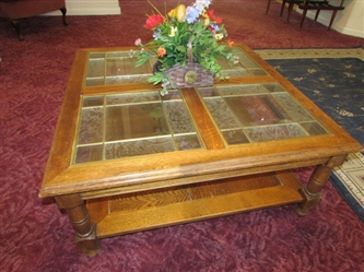 OAK COFFEE TABLE WITH LEADED GLASS PANELS